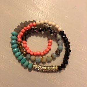 Jewelry - Beaded Wrap Teal Black Bead Stretch Bracelet